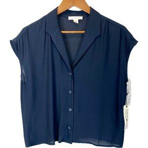 NWT TREASURE & BOND Button-up In Navy Night Flawed